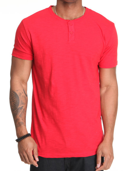 Basic Essentials Men Red Massive 2 Button Henley Slub S/S Tee