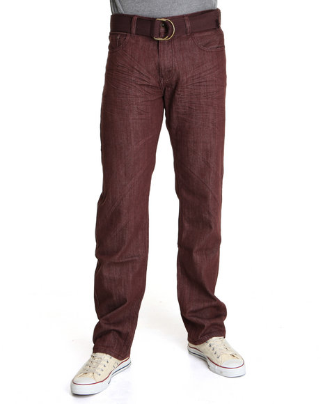 Basic Essentials Maroon Raw Colored Denim Jeans With Belt