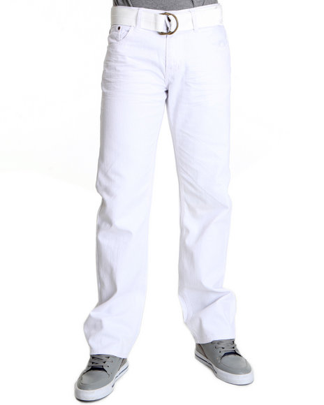 Basic Essentials Men White Raw Colored Denim Jeans With Belt