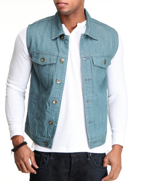 Basic Essentials Men Teal Raw Denim Vest