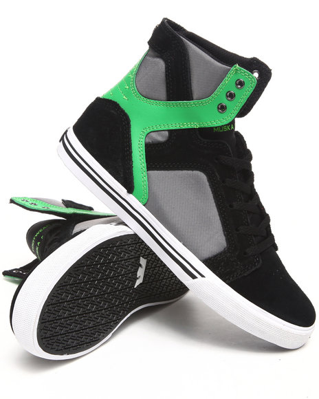 Supra Boys Lime Green,Black Skytop Black Nubuck/Green Suede Sneakers (Kids)