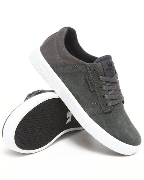 Supra Boys Charcoal Westwood Grey Suede/Canvas Sneakers (Kids)