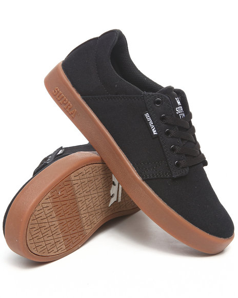 Supra Boys Black Westwood Black Canvas Gum Sole Sneakers (Kids)
