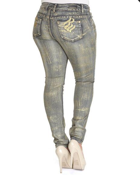 Rocawear Women Gold It's Like A Jungle Skinny Jean (Plus Size)