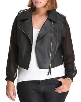 Fashion Lab - Mix fabrication Vegan Leather & Chiffon Moto Top