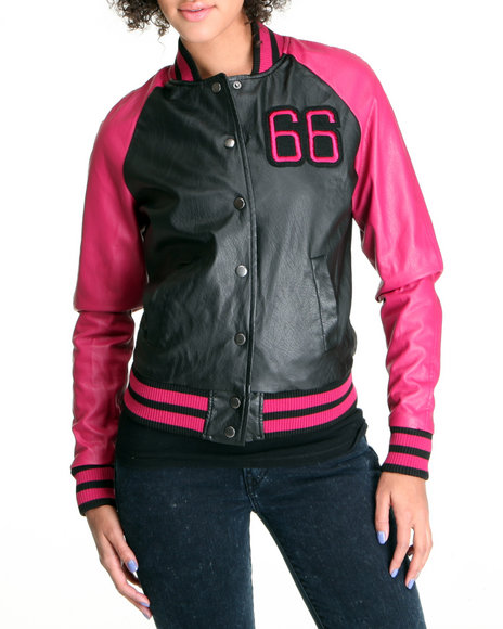 Basic Essentials Women Black,Dark Pink Varsity Style Light Weight Vegan Leather Jacket
