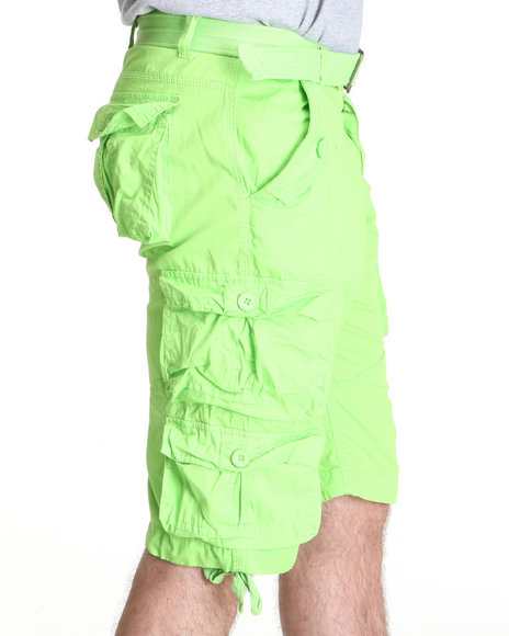 Basic Essentials - Men Lime Green Heavy Washed Lt. Twill Belted Cargo Short