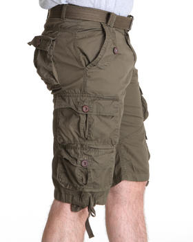 Basic Essentials - Heavy Washed Lt. Twill Belted Cargo Short