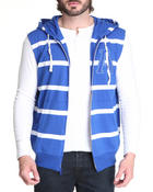Men - Striped Sleeveless Zip Hoody W/ Logo Patch