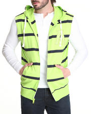 Buyers Picks - Striped Sleeveless Zip Hoodie W/ Logo Patch