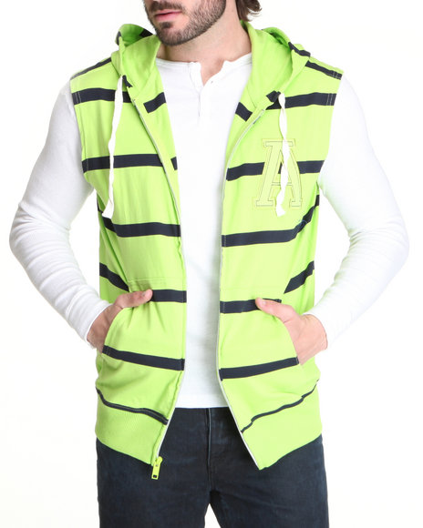 Buyers Picks - Men Lime Green Striped Sleeveless Zip Hoodie W/ Logo Patch
