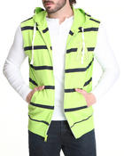 Buyers Picks - Striped Sleeveless Zip Hoody W/ Logo Patch