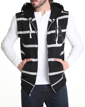 Buyers Picks - Striped Sleeveless Zip Hoodie W/ Logo Patch