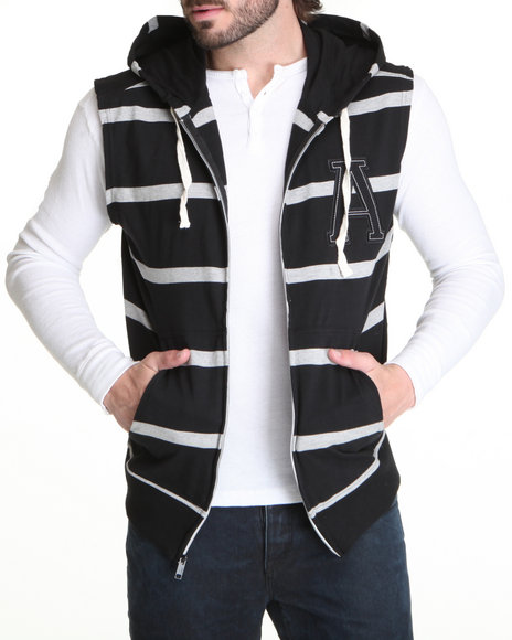 Buyers Picks - Men Black Striped Sleeveless Zip Hoodie W/ Logo Patch