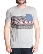 Henleys - Y-Neck Zag Shirt w/ Chambray Pocket detail