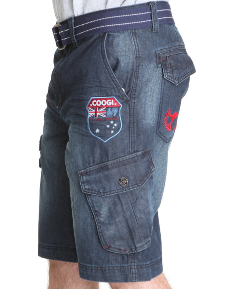 COOGI Men Blue Patriot Game Belted Camo Cargo Shorts