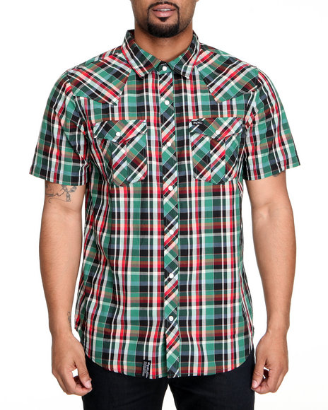 Lrg Men Forest Green,Multi Cornelius Short Sleeve Woven