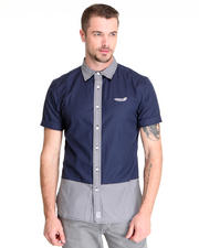 Button-downs - S/S Panel Button Down w / Gingham Accents