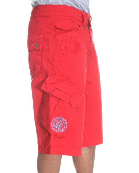 COOGI Men Red Patriot Drawstring Cargo Shorts