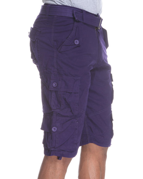 Buyers Picks - Men Purple Heavy Washed Lt. Twill Belted Cargo Short