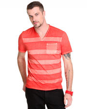 Shirts - Printed Stripe V-Neck w / Pckt
