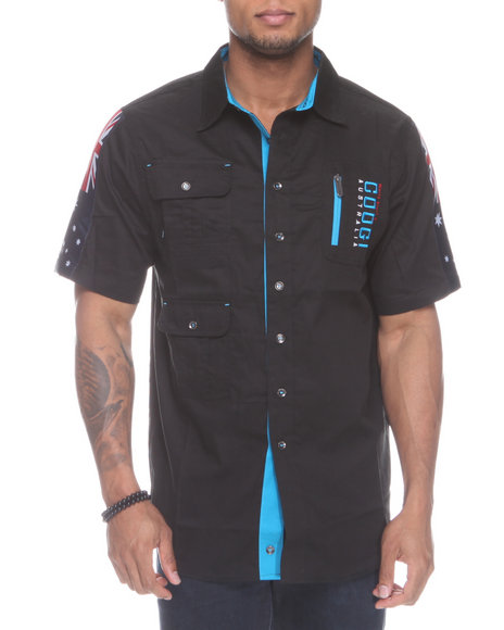 COOGI Men Black Thrones Pocket Detail Button Down Shirt