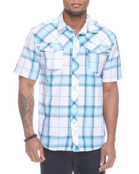 Enyce Men Blue Plaidter Short Sleeve Woven