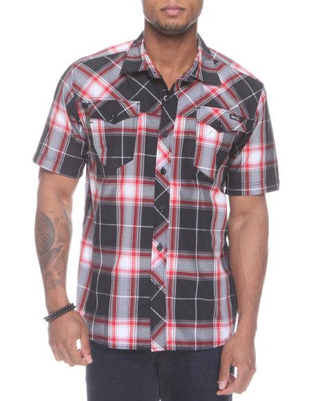Enyce Men Black Plaidter Short Sleeve Woven