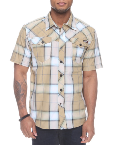Enyce Men Khaki Plaidter Short Sleeve Woven