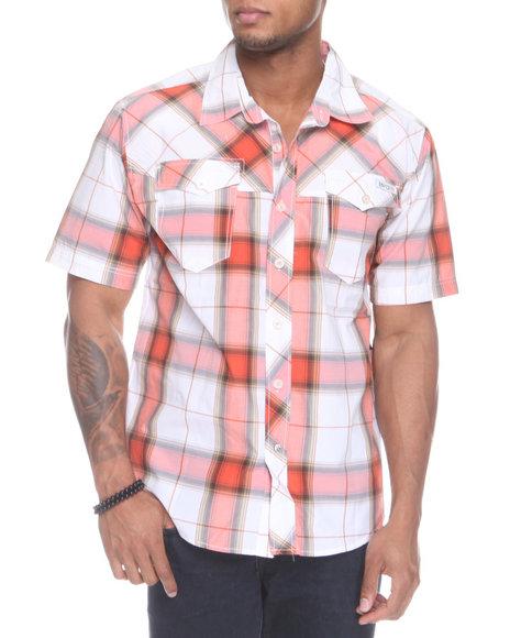 Enyce Men Orange Plaidter Short Sleeve Woven