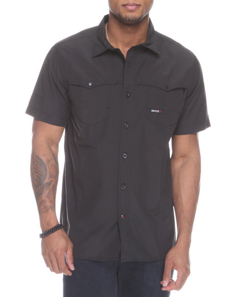 Enyce Men Black Shift Short Sleeve Woven