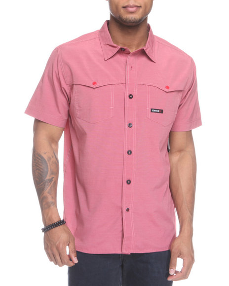 Enyce Men Red Shift Short Sleeve Woven