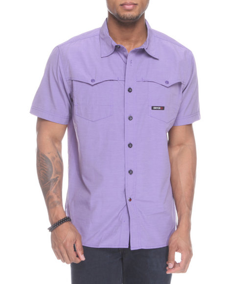 Enyce Men Purple Shift Short Sleeve Woven