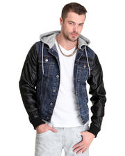 Jackets & Coats - Shump Denim Jacket w/ Hoodie and Jersey Trim Waist Piping Detail