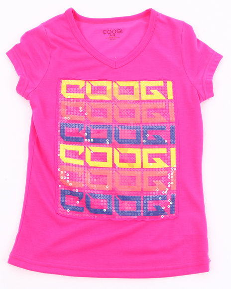 COOGI Girls Pink V-Neck Logo Tee (7-16)