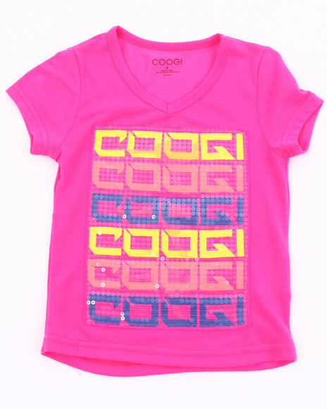 COOGI Girls Pink V-Neck Logo Tee (4-6X)