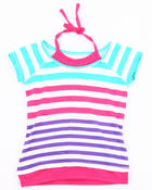 Girls - STRIPE TEE W/ NECK TIE (4-6X)