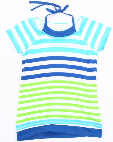 La Galleria Girls Blue Stripe Tee W/ Neck Tie (7-16)