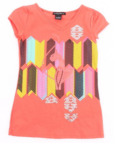Baby Phat Girls Orange Geometric Kitty Tee (7-16)