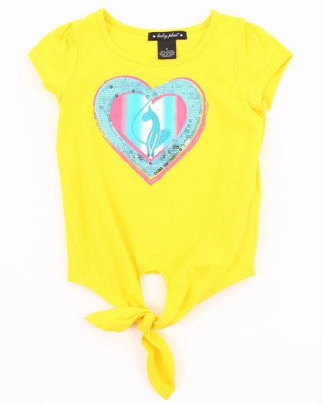 Baby Phat Girls Yellow Tie Front Heart Tee (4-6X)