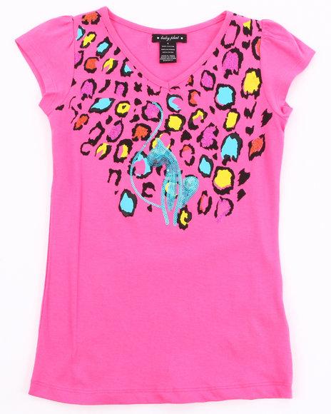 Baby Phat Girls Pink Animal Print Tee (7-16)