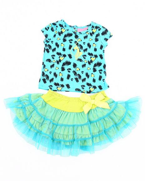 Baby Phat Girls Blue 2 Pc Set - Leopard Tee & Tutu (Infant)