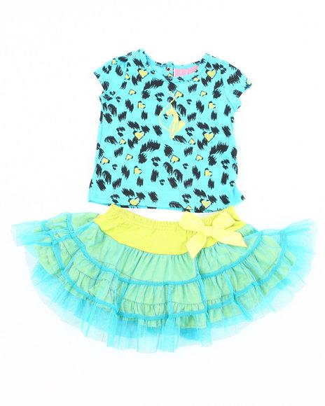 Baby Phat - Girls Blue 2 Pc Set - Leopard Tee & Tutu (Newborn)