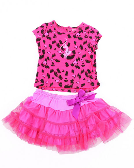 Baby Phat Girls Pink 2 Pc Set - Leopard Tee & Tutu (Infant)