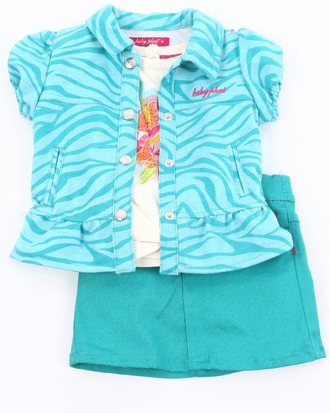 Baby Phat Girls Blue 3 Pc Set -Zebra Jacket, Tee, & Skirt (Infant)