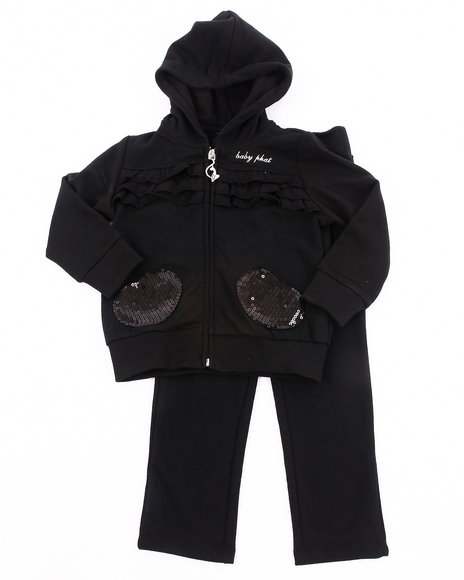 Baby Phat Girls Black French Terry Jogging Set (2T-4T)