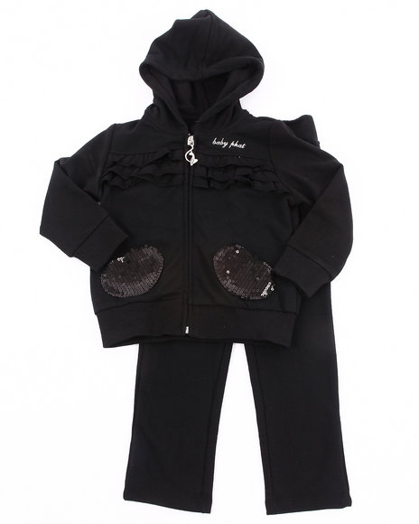 Baby Phat Girls Black French Terry Jogging Set (Infant)