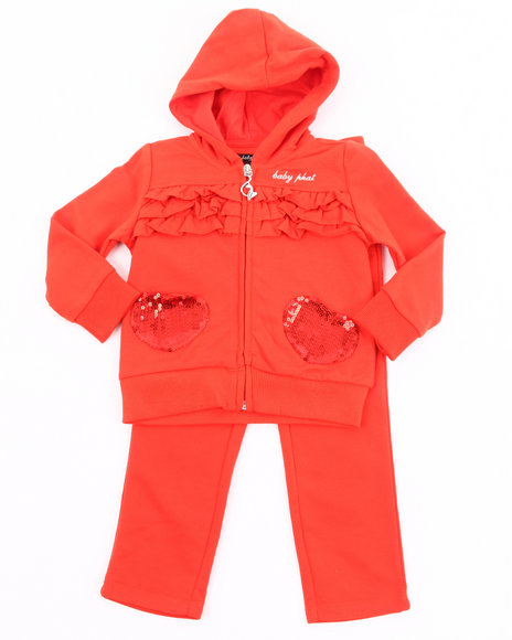 Baby Phat Girls Orange French Terry Jogging Set (4-6X)