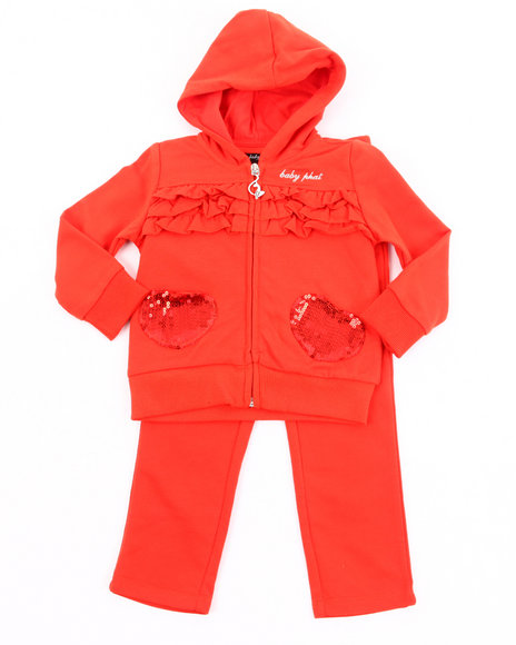 Baby Phat Girls Orange French Terry Jogging Set (Newborn)