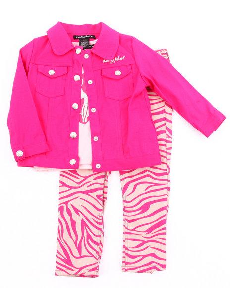 Baby Phat Girls Pink 3 Pc Set - Jacket, Tee, & Zebra Pant (2T-4T)